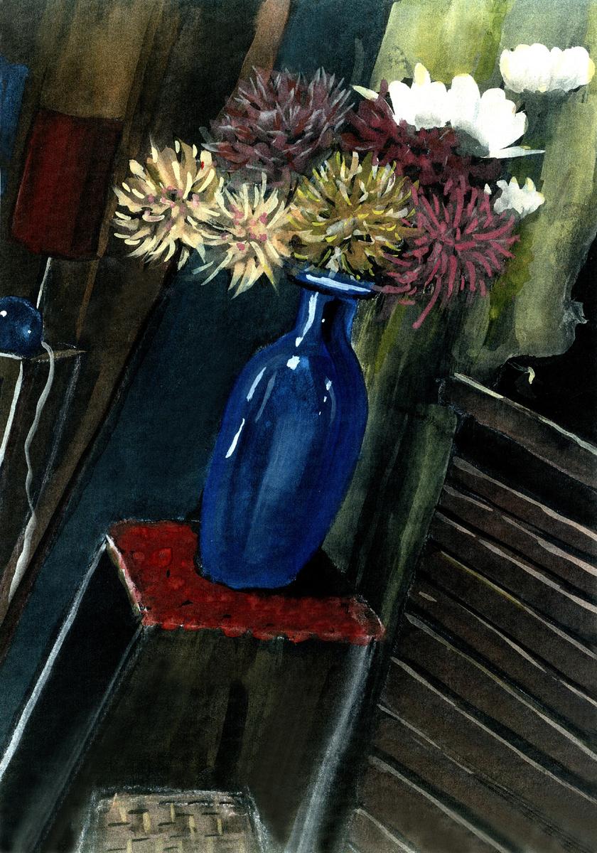 Flowers In Blue Vase, Warrnambool L