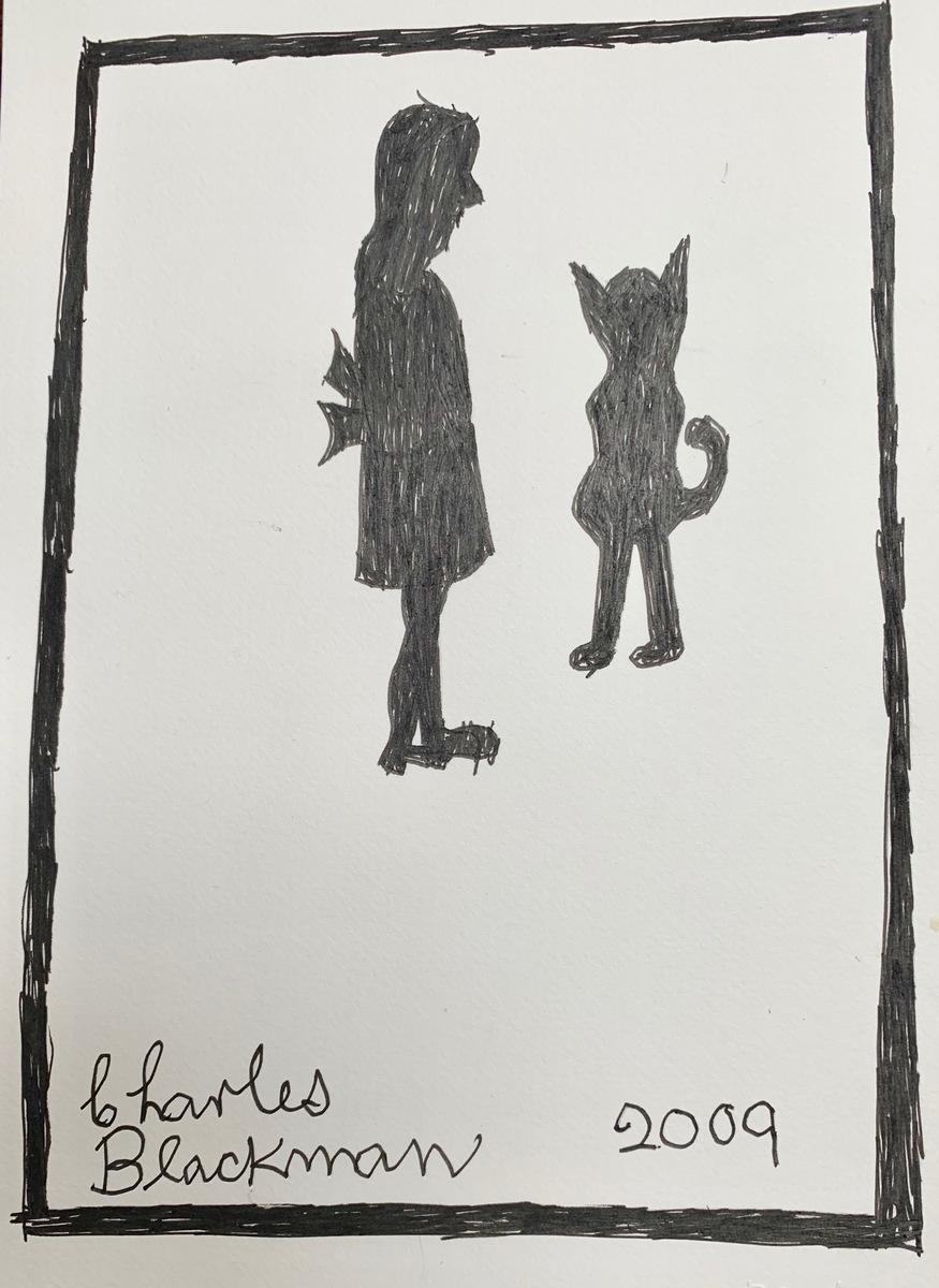 Schoolgirl and Cat