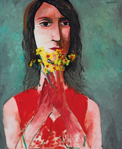 Red Dress And Yellow Jonquils