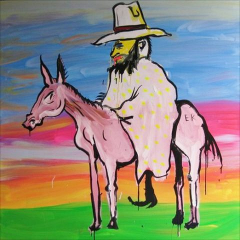 Edward Kelly on a pink horse
